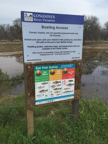 Fish advisory sign