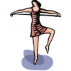 Drawing of a young woman standing with one foot raised, as if to dance