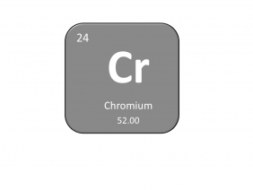 Periodic table entry for chromium that includes the atomic number, abbreviation and mass