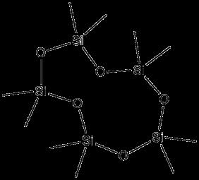 Example structure of a cyclosiloxane- Decamethylcyclopentasiloxane (D5)