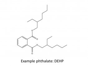 Black and white chemical structure of di-2-ethylhexyl phthalate (DEHP)