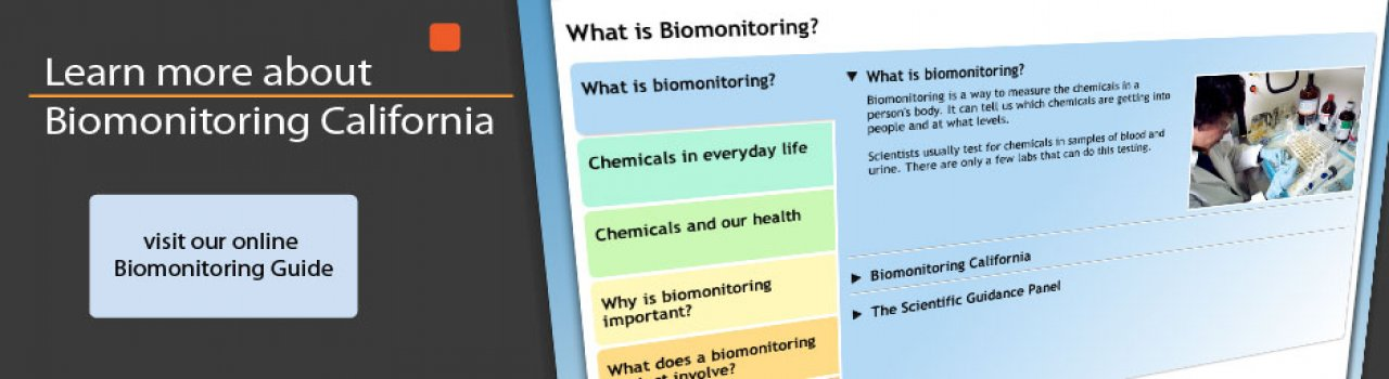 Learn more about Biomonitoring California.  Screenshot of interactive brochure.